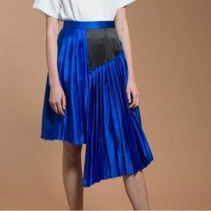 Public School NWT Silk Raw Edge Pleated Midi Skirt
